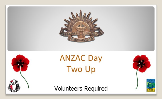 ANZAC Day Two Up - Volunteers Required